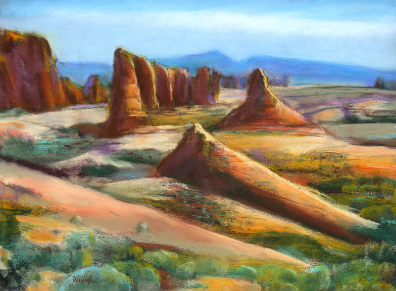 Towers, Arches Arches National Park, Utah (landscapes, Pastel) - Fine Art by Donald G. Vogl, Fort Collins, Colorado