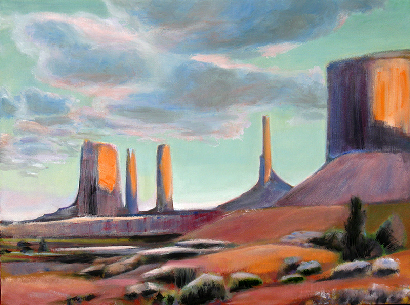 Towers at Dusk Monument Valley, Arizona (landscapes, Oil) - Fine Art by Donald G. Vogl, Fort Collins, Colorado
