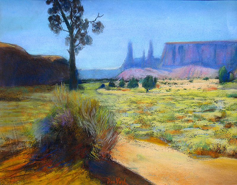 Towers at Monument Valley Monument Valley, Arizona (landscapes, Pastel) - Fine Art by Donald G. Vogl, Fort Collins, Colorado