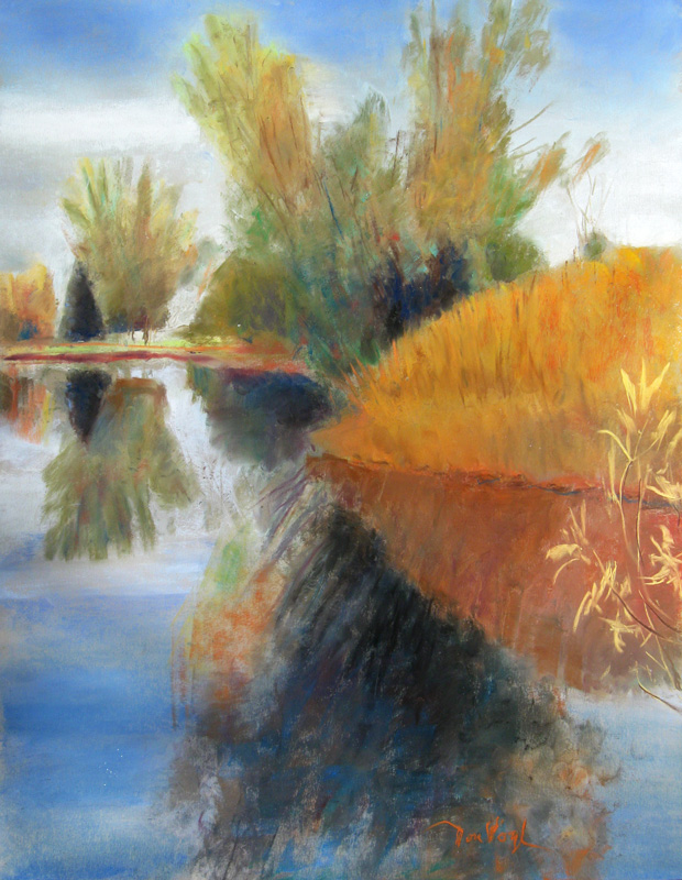 Troutman Park Pond Fort Collins, Colorado (landscapes, Pastel) - Fine Art by Donald G. Vogl, Fort Collins, Colorado