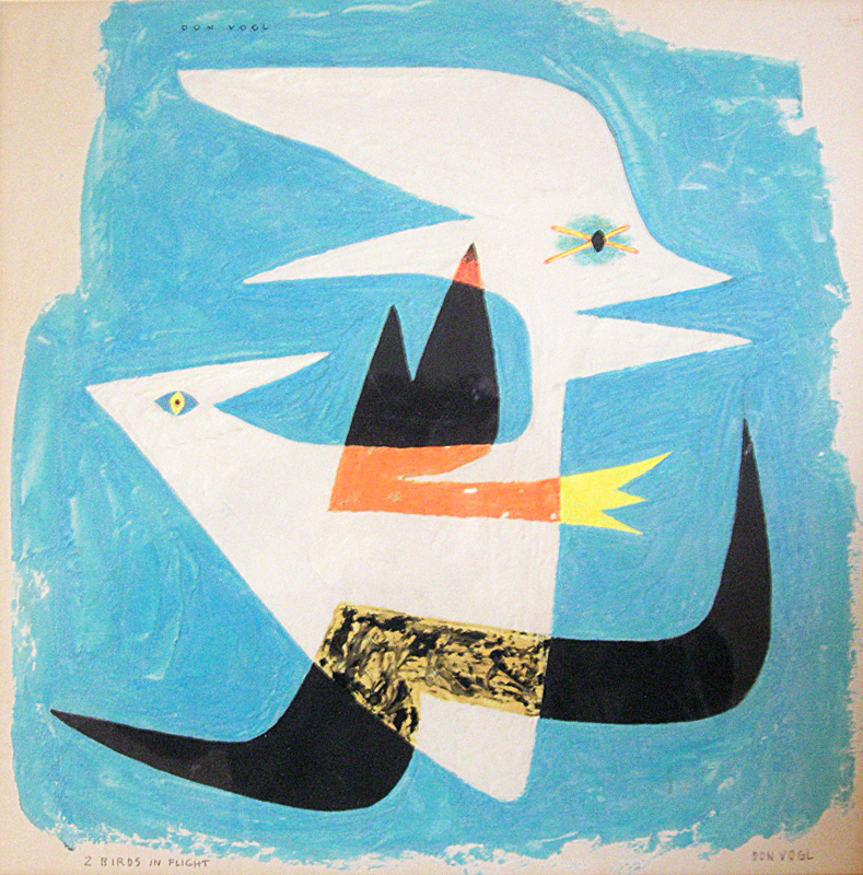 Two Birds in Flight  (abstracts figures, Lithograph) - Fine Art by Donald G. Vogl, Fort Collins, Colorado