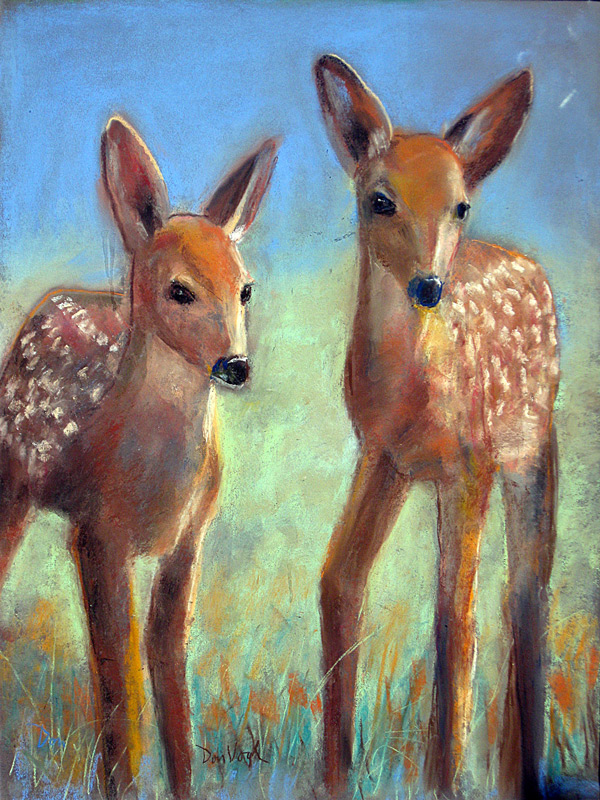 Two Fawns  (animals, Pastel) - Fine Art by Donald G. Vogl, Fort Collins, Colorado