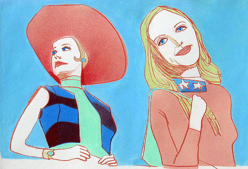 Two Stars  (portraits, Hand-colored Lithograph) - Fine Art by Donald G. Vogl, Fort Collins, Colorado