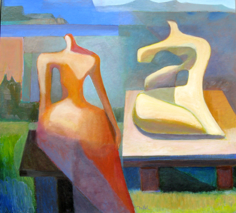 Two Statues  (abstracts figures, Acrylic) - Fine Art by Donald G. Vogl, Fort Collins, Colorado