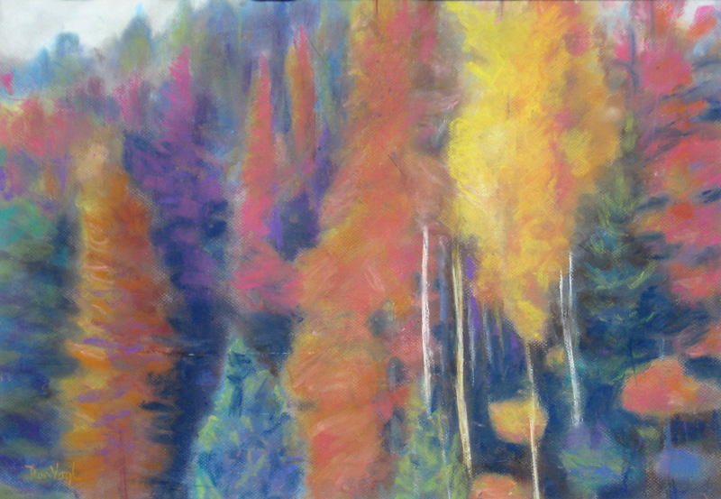 Vertical Gold Colorado (landscapes, Pastel) - Fine Art by Donald G. Vogl, Fort Collins, Colorado