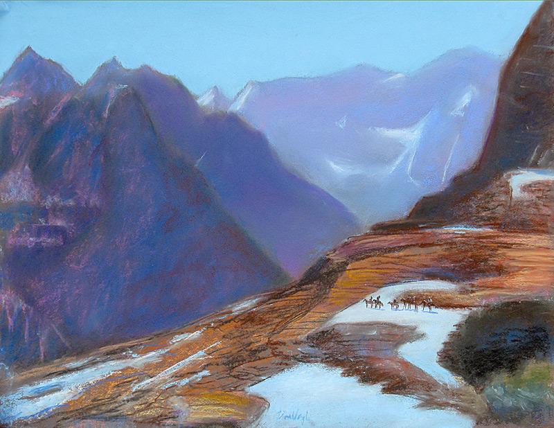 Visitors at Glacier Glacier National Park, Montana (landscapes, Pastel) - Fine Art by Donald G. Vogl, Fort Collins, Colorado