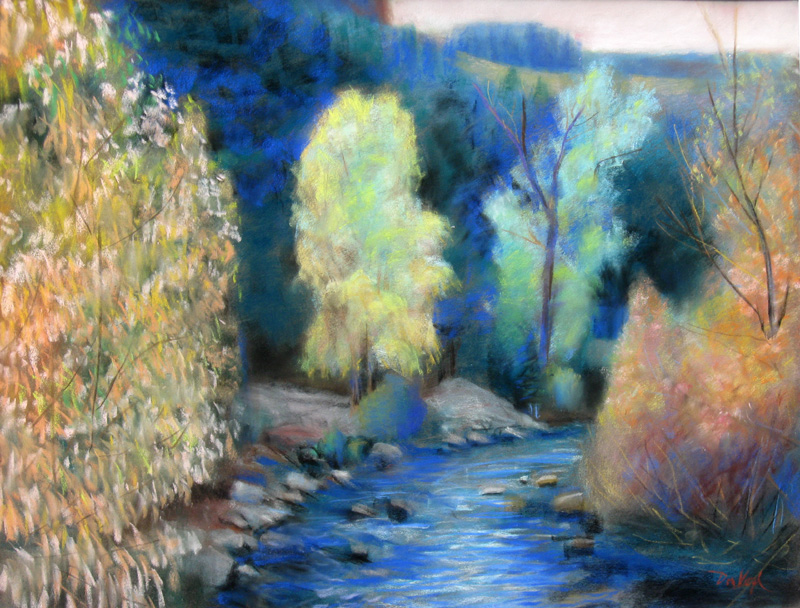 Poudre River Fort Collins, Colorado (landscapes, Pastel) - Fine Art by Donald G. Vogl, Fort Collins, Colorado