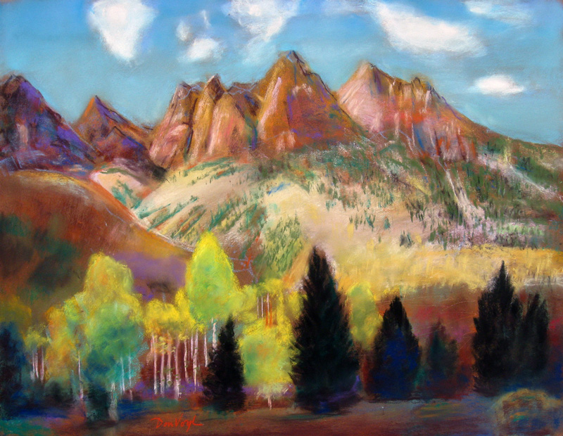 West of Maroon Bells Maroon Bells, Colorado (landscapes, Pastel) - Fine Art by Donald G. Vogl, Fort Collins, Colorado