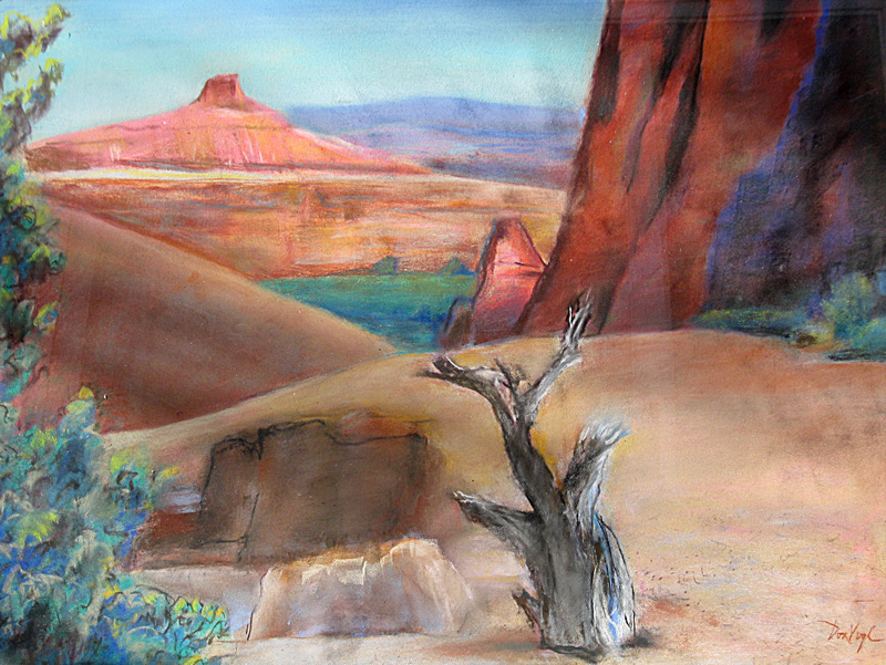 Windows Arches National Park, Utah (landscapes, Pastel) - Fine Art by Donald G. Vogl, Fort Collins, Colorado