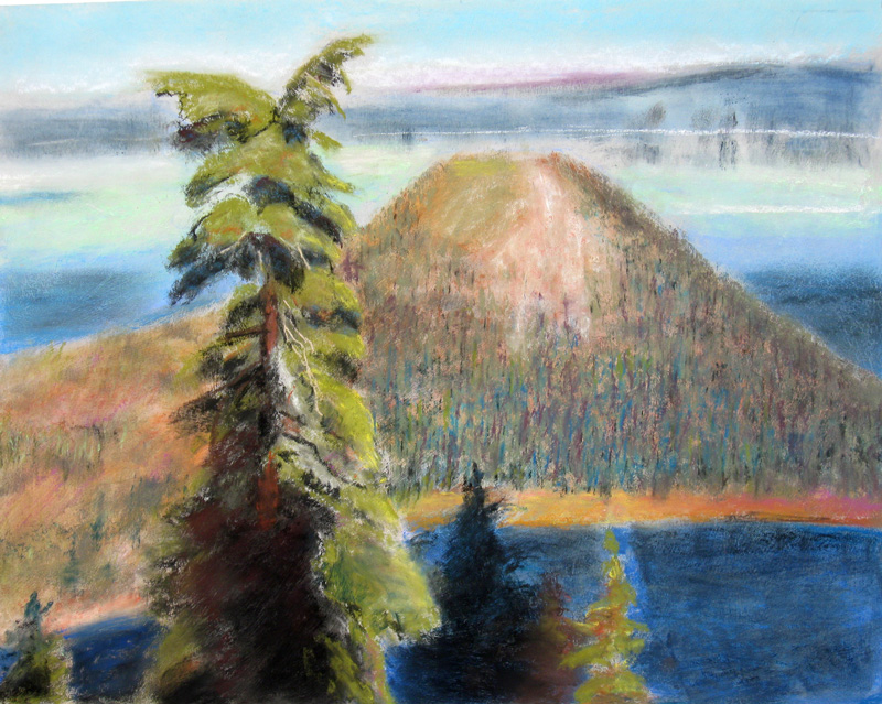 Wizard Island Crater Lake, Oregon (landscapes, Pastel) - Fine Art by Donald G. Vogl, Fort Collins, Colorado