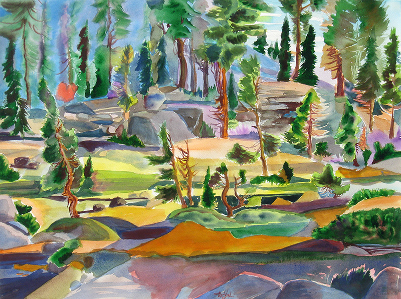 Yosemite Trees Yosemite National Park, California (landscapes, Watercolor) - Fine Art by Donald G. Vogl, Fort Collins, Colorado