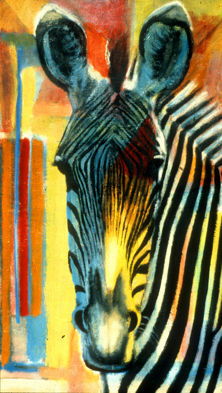 Zebra Head  (animals, Acrylic) - Fine Art by Donald G. Vogl, Fort Collins, Colorado