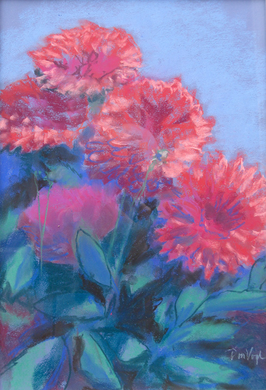Zinias  (still lifes, Pastel) - Fine Art by Donald G. Vogl, Fort Collins, Colorado