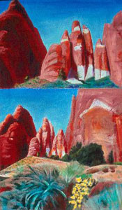 Double View Spires Arches National Park, Utah (landscapes, Acrylic on Canvas) - Fine Art by Donald G. Vogl, Fort Collins, Colorado