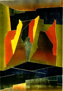 On Stage  (abstracts, Woodcut) - Fine Art by Donald G. Vogl, Fort Collins, Colorado