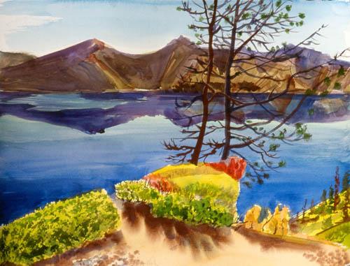 Across Crater LakeOregon (Watercolor, landscapes) - Fine Art by Donald G. Vogl, Fort Collins, Colorado