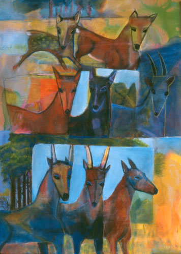 Antelopes (Acrylic, figures animals) - Fine Art by Donald G. Vogl, Fort Collins, Colorado