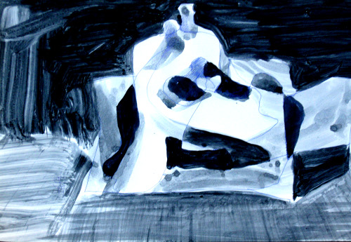 Couple (Acrylic, abstracts figures monochromes) - Fine Art by Donald G. Vogl, Fort Collins, Colorado