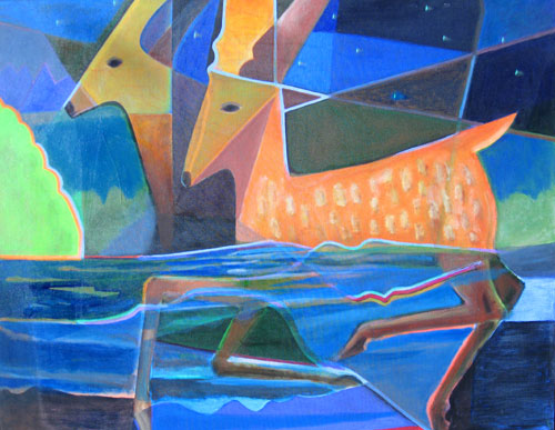 Fawn Swimming (Acrylic, figures animals) - Fine Art by Donald G. Vogl, Fort Collins, Colorado