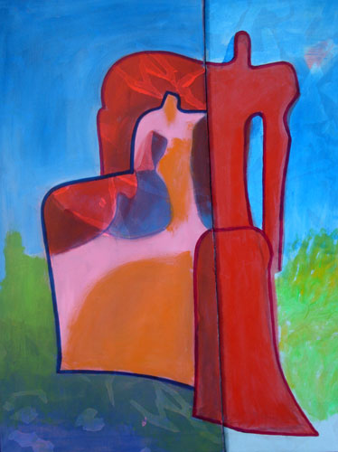 Guardian (Acrylic, figures) - Fine Art by Donald G. Vogl, Fort Collins, Colorado