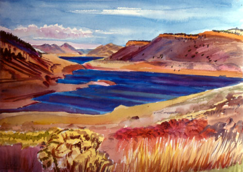 Horsetooth ReservoirFort Collins, Colorado (Watercolor, landscapes) - Fine Art by Donald G. Vogl, Fort Collins, Colorado