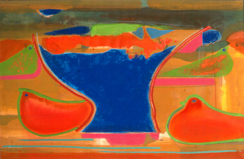 There's a Lady in My Soup (Acrylic and Pastel, abstracts figures) - Fine Art by Donald G. Vogl, Fort Collins, Colorado