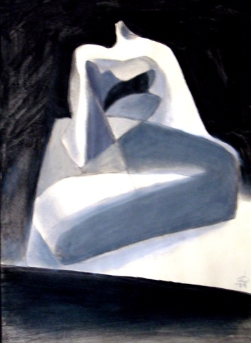 Le Grande (Acrylic, abstracts figures monochromes) - Fine Art by Donald G. Vogl, Fort Collins, Colorado