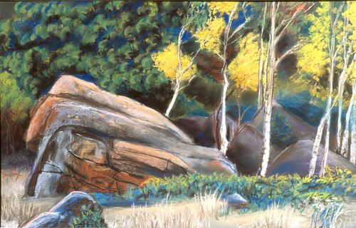Marching AspenRocky Mountain National Park, Colorado (Pastel, landscapes) - Fine Art by Donald G. Vogl, Fort Collins, Colorado