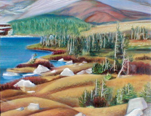Medicine Bow ShorelineWyoming (Pastel, landscapes) - Fine Art by Donald G. Vogl, Fort Collins, Colorado