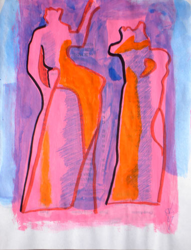 Monologue (Acrylic and Ink, abstracts figures) - Fine Art by Donald G. Vogl, Fort Collins, Colorado