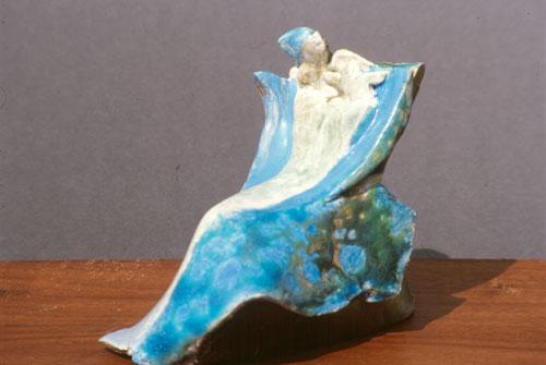 Mother and Child (Raku, ceramics christian) - Fine Art by Donald G. Vogl, Fort Collins, Colorado