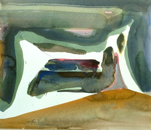 Recliner (Watercolor, abstracts) - Fine Art by Donald G. Vogl, Fort Collins, Colorado