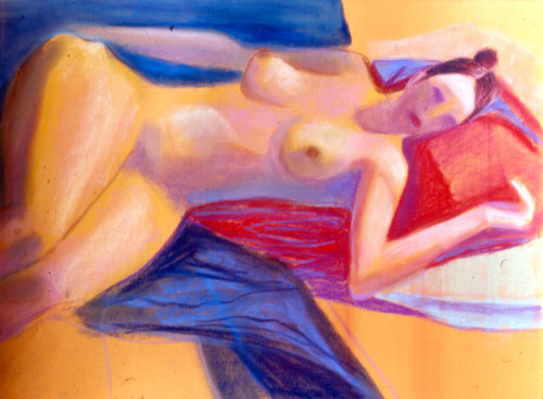 Reclining (Pastel, figures nudes) - Fine Art by Donald G. Vogl, Fort Collins, Colorado