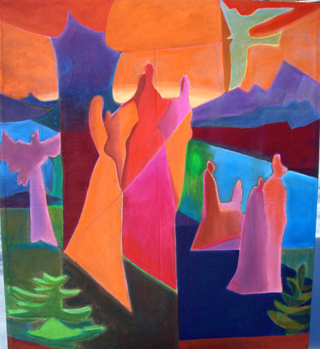 Séance (Acrylic, abstracts figures) - Fine Art by Donald G. Vogl, Fort Collins, Colorado