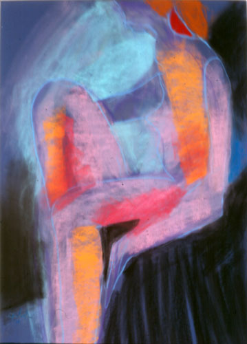 Seated Figure (Pastel, abstracts figures) - Fine Art by Donald G. Vogl, Fort Collins, Colorado