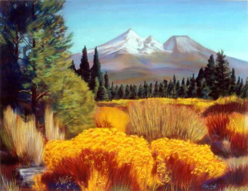 Mount Shasta GoldCalifornia (Pastel, landscapes) - Fine Art by Donald G. Vogl, Fort Collins, Colorado