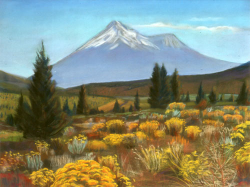 Mount Shasta SkylineCalifornia (Pastel, landscapes) - Fine Art by Donald G. Vogl, Fort Collins, Colorado