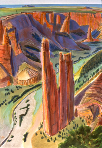Spider WomanCanyon de Chelley, Arizona (Watercolor and Pastel, landscapes) - Fine Art by Donald G. Vogl, Fort Collins, Colorado