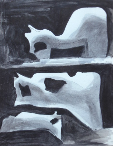Trio (Acrylic, abstracts figures monochromes) - Fine Art by Donald G. Vogl, Fort Collins, Colorado