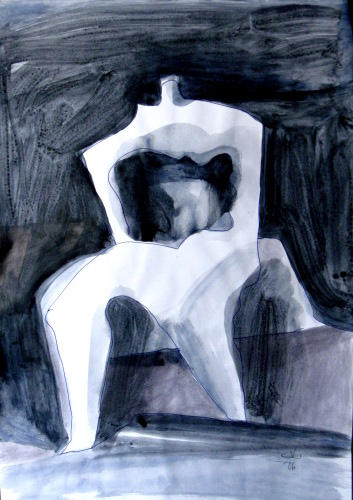 Wall Flower (Acrylic, abstracts figures monochromes) - Fine Art by Donald G. Vogl, Fort Collins, Colorado