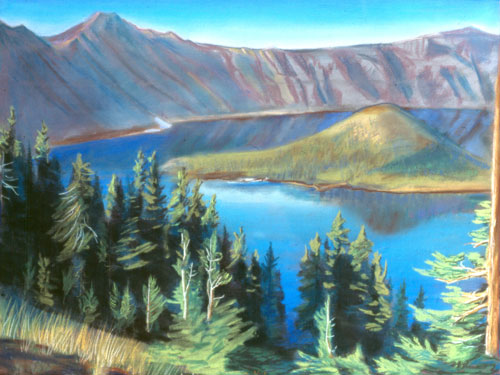 Wizard IslandCrater Lake, Oregon (Pastel, landscapes) - Fine Art by Donald G. Vogl, Fort Collins, Colorado