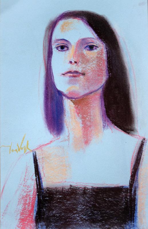A Little Blue (Pastel, portraits) - Fine Art by Donald G. Vogl, Fort Collins, Colorado