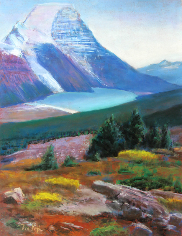 Berg Lake, Mount RobsonBritish Columbia, Canada (Pastel, landscapes) - Fine Art by Donald G. Vogl, Fort Collins, Colorado
