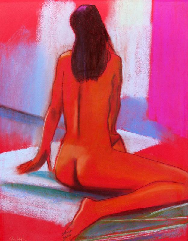 Big Red (Pastel, figures) - Fine Art by Donald G. Vogl, Fort Collins, Colorado