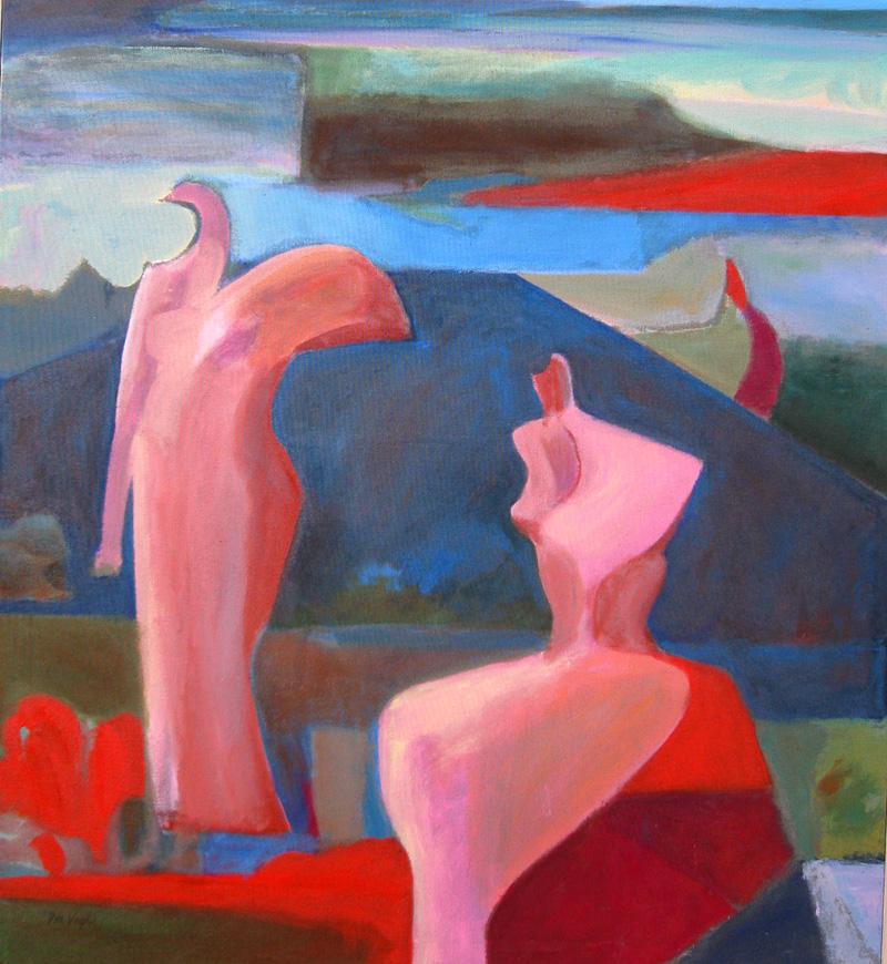 Birdland (Acrylic, figures) - Fine Art by Donald G. Vogl, Fort Collins, Colorado