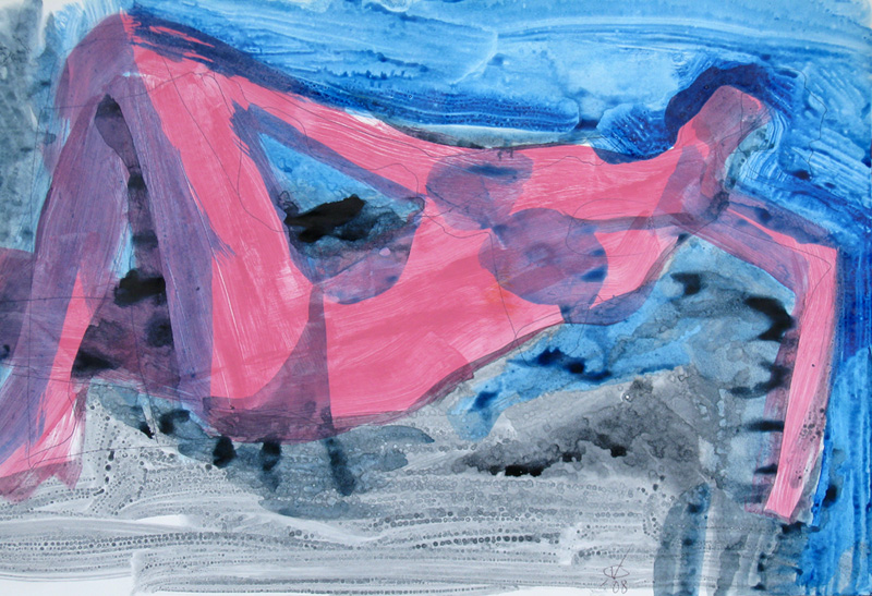 Blue Bather (Acrylic, abstracts figures nudes) - Fine Art by Donald G. Vogl, Fort Collins, Colorado