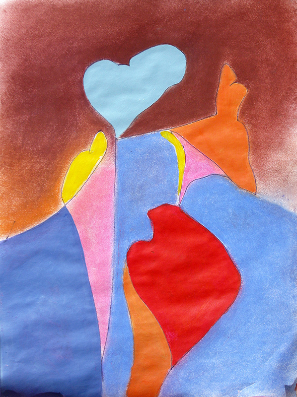 Blue Heart Red Heart (Pastel, abstracts) - Fine Art by Donald G. Vogl, Fort Collins, Colorado