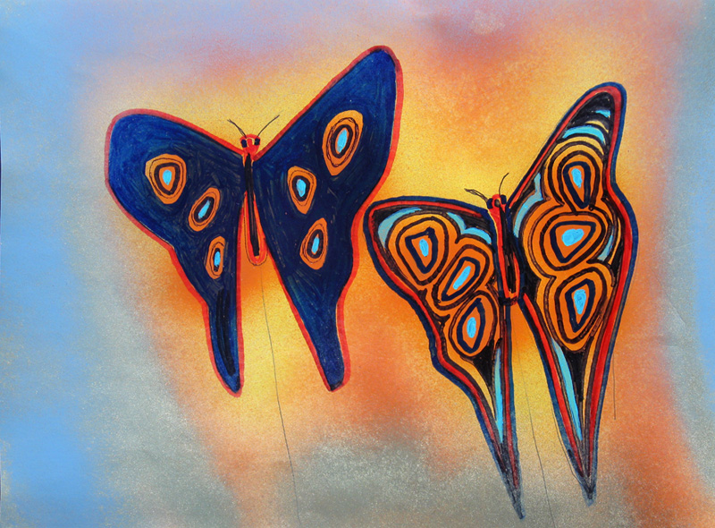 Butterflies (Acrylic, figures animals) - Fine Art by Donald G. Vogl, Fort Collins, Colorado