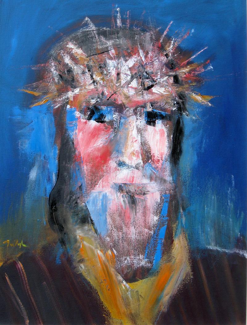 Christ (Blue) (Oil, christian portraits) - Fine Art by Donald G. Vogl, Fort Collins, Colorado