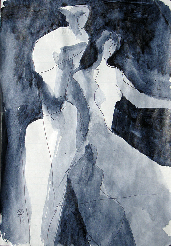 The Couple (Acrylic, abstracts figures monochromes) - Fine Art by Donald G. Vogl, Fort Collins, Colorado